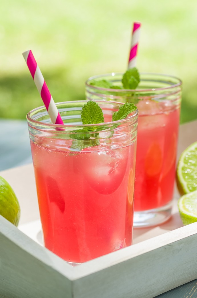 Fruity, watermelon drink with paper straw