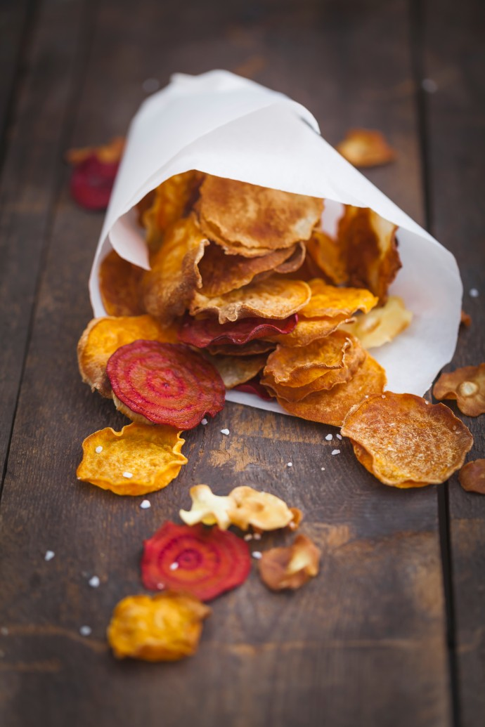 Orange and red sweet potato chips