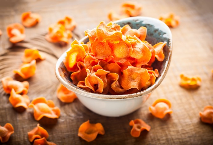Sweet potato chips in white bowl