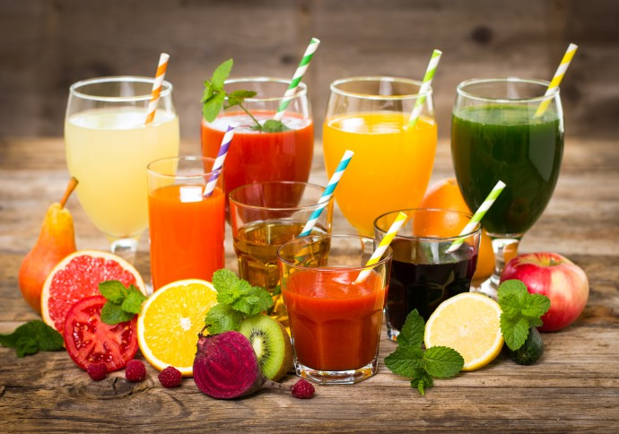 Mixed assortment of fruit and juices